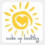Despierte sano calcomanías cuadradases