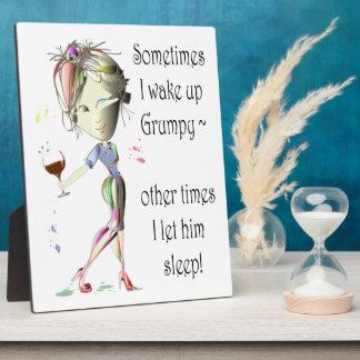 ¡Despierto a veces gruñón! regalos divertidos Placas Con Foto