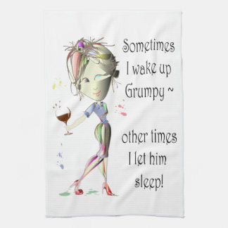 ¡Despierto a veces gruñón! regalos divertidos Toallas De Cocina