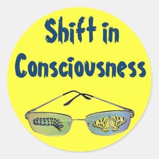Desplace en pegatinas de la conciencia pegatina redonda