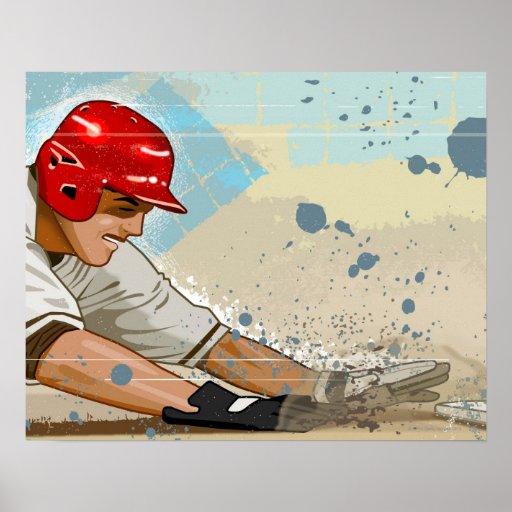 Desplazamiento del jugador de béisbol poster