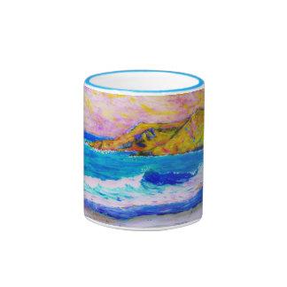 desplome de una onda taza de dos colores