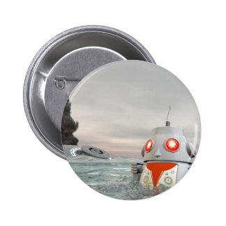 Desplome del robot en el mar pin redondo de 2 pulgadas