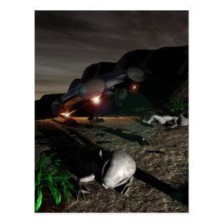 Desplome del UFO de Roswell en la postal de la noc