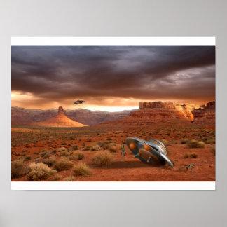 Desplome del UFO en el desierto con el poster