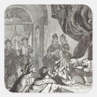 Desposorio de la princesa francesa a Richard II Pegatina Cuadrada