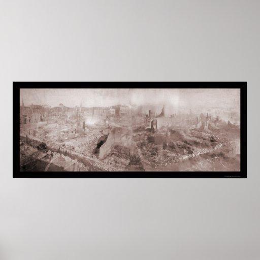Después de la foto 1872 de Boston del fuego Poster