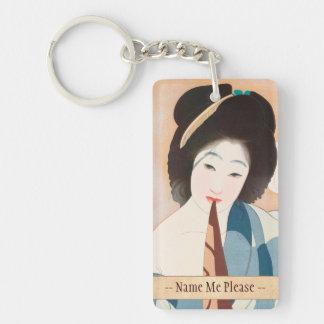 Después de la señora japonesa del vintage de Shima Llavero Rectangular Acrílico A Doble Cara