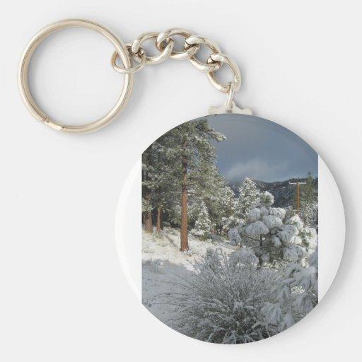 Después de la tormenta de la nieve de la montaña llaveros personalizados