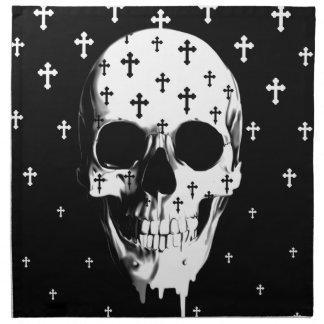 Después de mercado, cráneo gótico con las cruces servilleta de papel