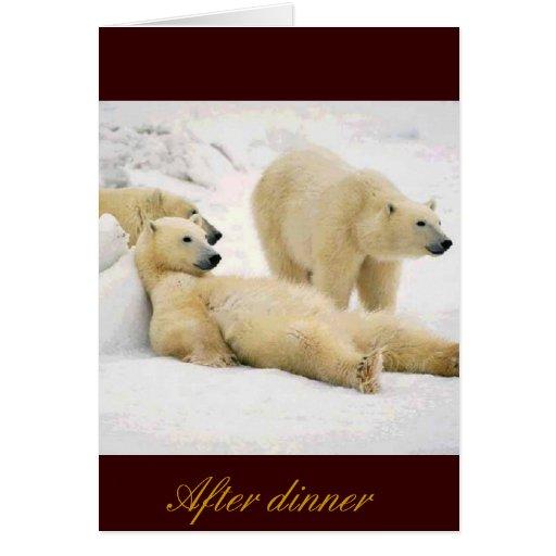 Después de oso de la cena tarjeta