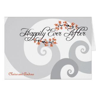 Después del boda del hibisco gracias feliz nunca tarjeta pequeña