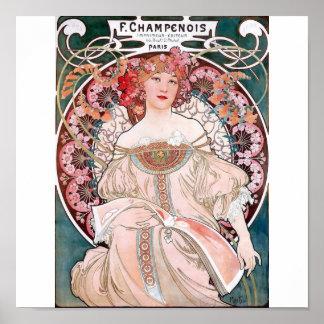Dess rosados de París de los champenois de Mucha Póster