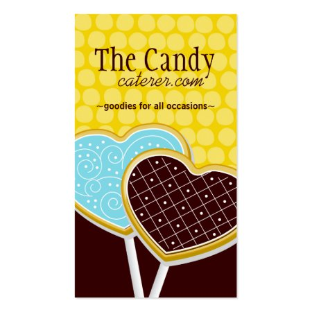 Chocolate Brown, Blue and Yellow Candy Snacks Desserts Catering Business Cards
