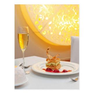 Dessert in restaurant postcard