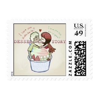 dessert love story postage stamp