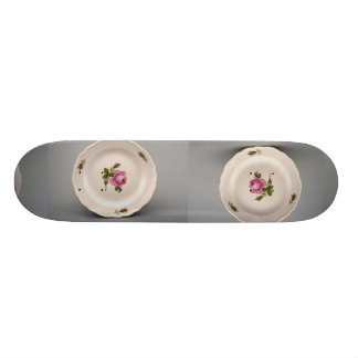 Dessert plate with colorful flower designs skateboards