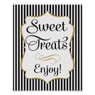 Dessert Sign Black Gold Sweet Treats