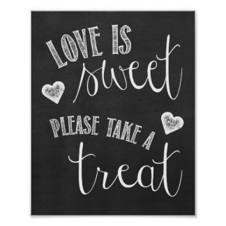 Dessert Table Chalkboard Wedding Poster