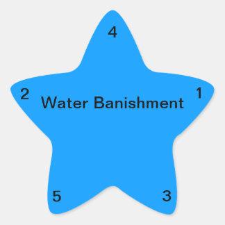 Destierro del agua pegatina en forma de estrella