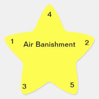 Destierro del aire pegatina en forma de estrella