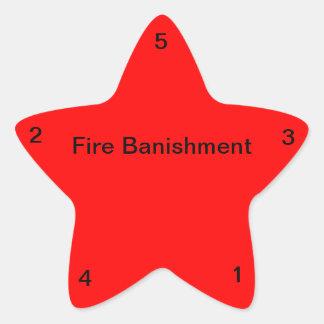 Destierro del fuego pegatina en forma de estrella