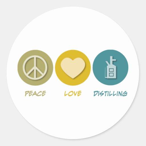 Destilación del amor de la paz etiquetas redondas