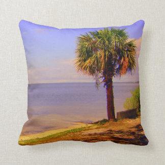 Destin and Ft Walton Beach palm trees florida gulf Throw Pillow
