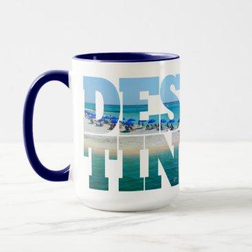 Destin Beach Photo Unique Typography Modern Mug
