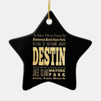 Destin City of Florida Typography Art Double-Sided Star Ceramic Christmas Ornament