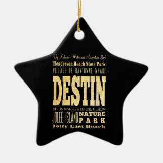 Destin City of Florida Typography Art Double-Sided Star Ceramic Christmas Ornament
