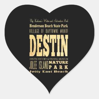 Destin City of Florida Typography Art Heart Stickers