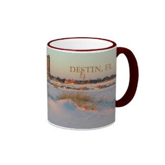 Destin, FL - Emerald Grande at Sunset Mug- Maroon Ringer Mug