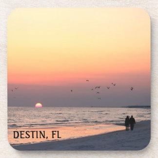 Destin, FL Romantic Sunset Beach Walk Coasters