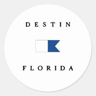 Destin Florida Alpha Dive Flag Round Stickers