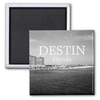 Destin Florida bay harbor black & white magnet