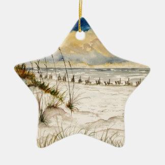 Destin Florida Beach Art Double-Sided Star Ceramic Christmas Ornament