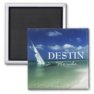 Destin Florida beached sailboat 2 Inch Square Magnet