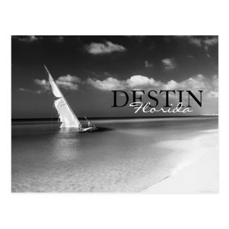 Destin, Florida Black & White Beached Sailboat Postcard