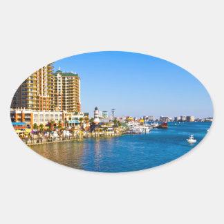 Destin Florida Harbor Beautiful Scenic Photo Oval Sticker