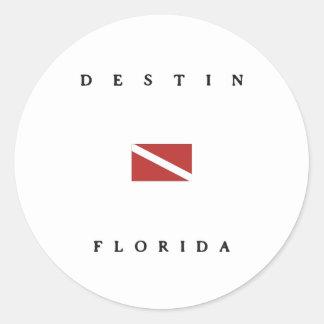Destin Florida Scuba Dive Flag Round Sticker