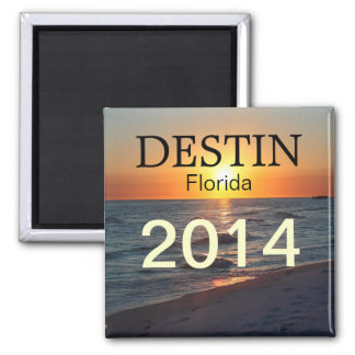 Destin Florida sunset over gulf - CUSTOMIZE YEAR 2 Inch Square Magnet