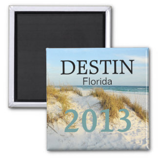 Destin Florida white sand beach - CUSTOMIZE YEAR! 2 Inch Square Magnet