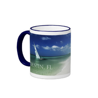 Destin, Florida - World's Luckiest Fishing Village Ringer Coffee Mug