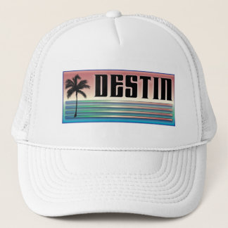 Destin Retro Rainbow and Palm Tree Trucker Hat