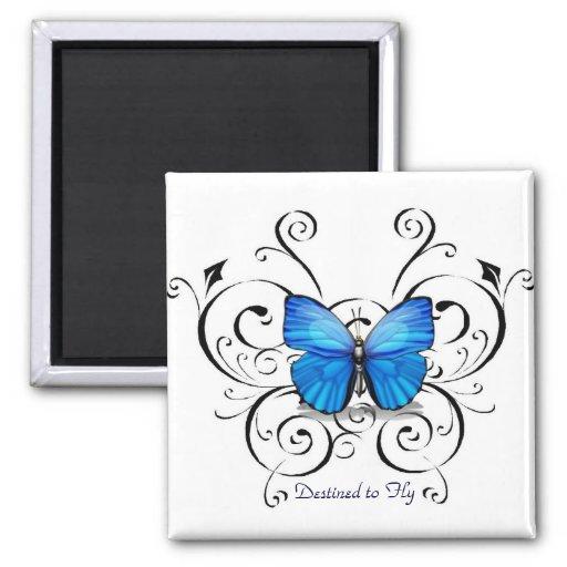 Destinado para volar la colección de la mariposa imán cuadrado