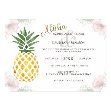 Beach Themed Destination Aloha Tropical Beach Wedding Invite
