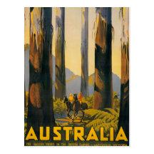 Destination Australia Travel Poster Postcard