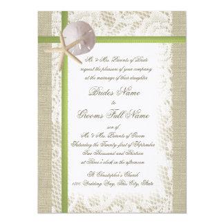 Destination Beach Burlap and Lace Wedding Card