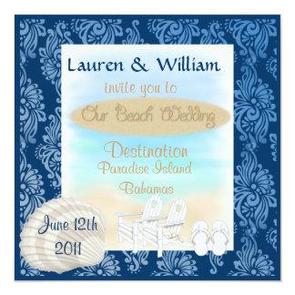 """Destination Beach Wedding Invitation Damask Design 5.25"""" Square Invitation Card"""